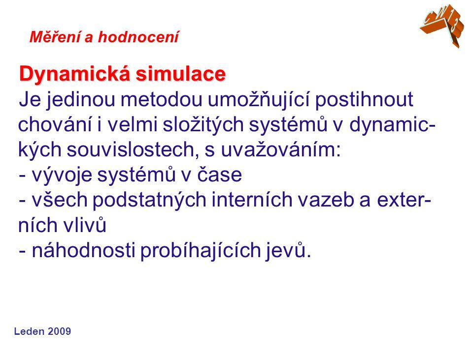 Leden 2009 Dynamická simulace Je jedinou metodou umožňující postihnout chování i velmi složitých systémů v dynamic- kých souvislostech, s uvažováním: