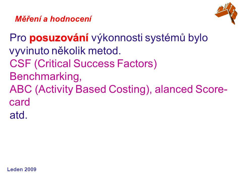 Leden 2009 posuzování Pro posuzování výkonnosti systémů bylo vyvinuto několik metod. CSF (Critical Success Factors) Benchmarking, ABC (Activity Based