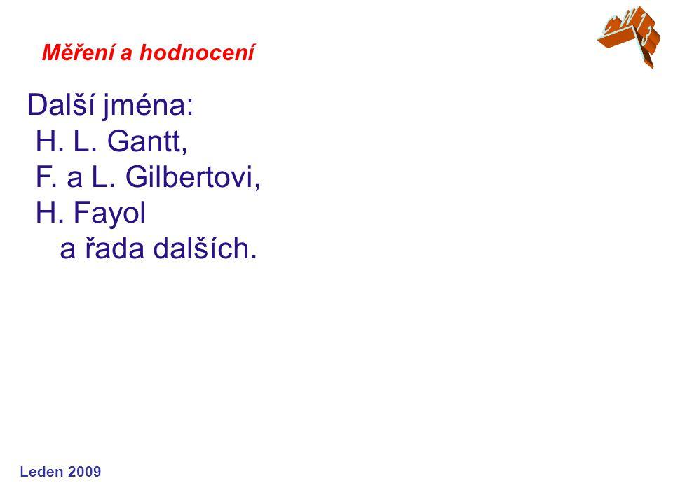 Leden 2009 Další jména: H. L. Gantt, F. a L. Gilbertovi, H. Fayol a řada dalších. Měření a hodnocení