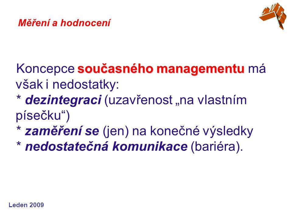 """Leden 2009 současného managementu Koncepce současného managementu má však i nedostatky: * dezintegraci (uzavřenost """"na vlastním písečku ) * zaměření se (jen) na konečné výsledky * nedostatečná komunikace (bariéra)."""