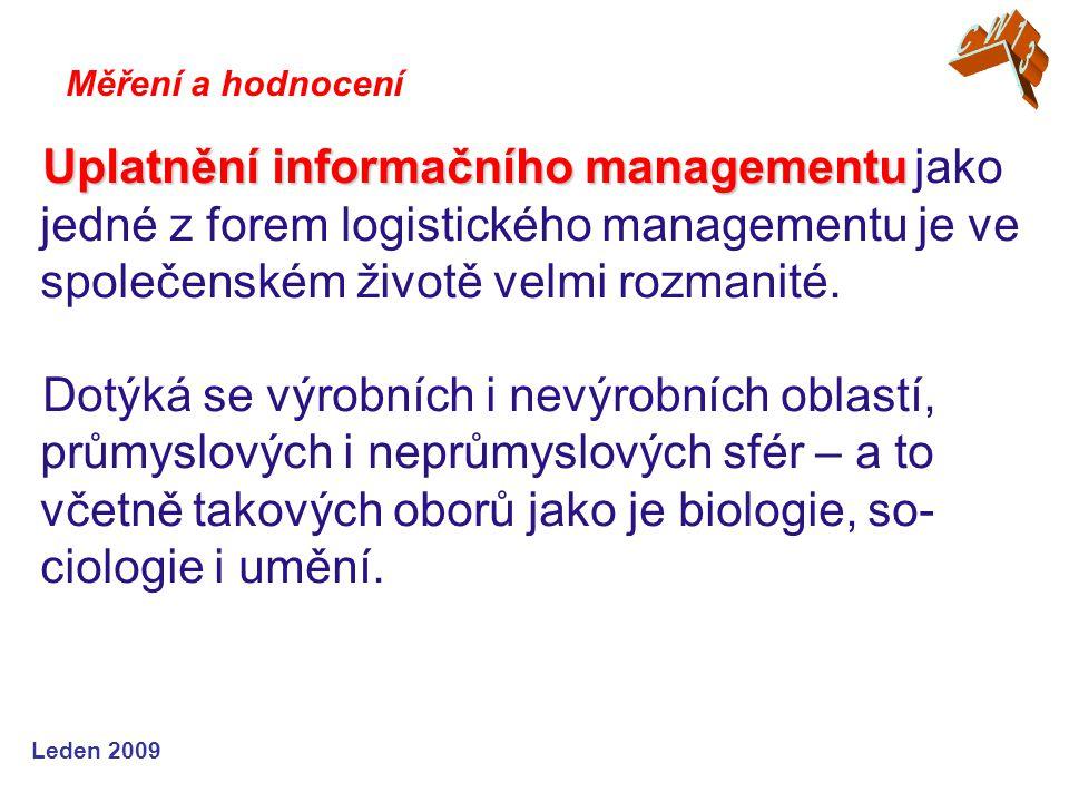Leden 2009 Uplatnění informačního managementu Uplatnění informačního managementu jako jedné z forem logistického managementu je ve společenském životě velmi rozmanité.