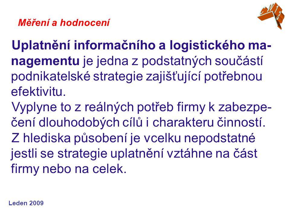 Leden 2009 Uplatnění informačního a logistického ma- nagementu je jedna z podstatných součástí podnikatelské strategie zajišťující potřebnou efektivit