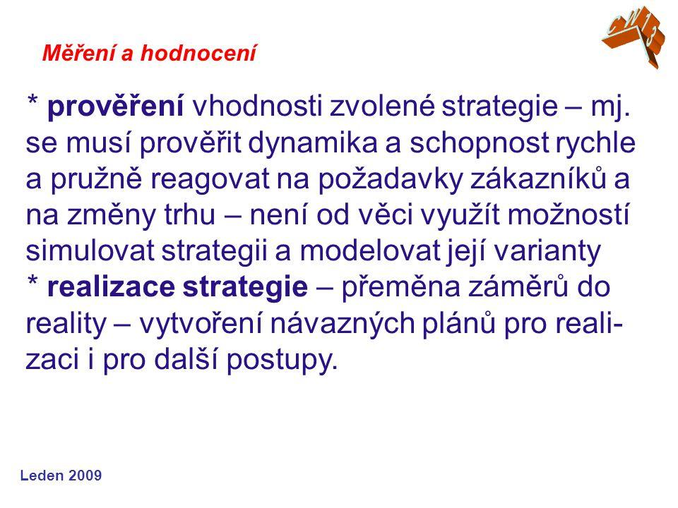 Leden 2009 * prověření vhodnosti zvolené strategie – mj.