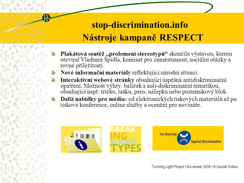 Nejlepší zkušenosti ve veřejných kampaních Rovnost žen a mužů & Gender Mainstreaming & Rozmanitost & Rovné odměňování EU (Nástroje veřejných kampaní): http://www.stop-discrimination.info+++ RESPECThttp://www.stop-discrimination.info Rakousko (Veřejné kampaně zaměřené na gender mainstreaming, jejichž cílovou skupinou byli obyvatelé měst): http://www.wien.gv.at/stadtentwicklung/gendercity+++ Gender City Vienna http://www.wien.gv.at/stadtentwicklung/gendercity EU (politika rozmanitosti): http://web25s112.typo3sever.com/fileadmin/confdocs/screen_A5_8steps_EN http://web25s112.typo3sever.com/fileadmin/confdocs/screen_A5_8steps_EN _16s.pdf_16s.pdf +++ rozmanitost v práci UK (vzájemné kampaně) : http://www.eoc.org.uk +++15% off – proč pracovnice stále dostávají méně?http://www.eoc.org.uk 10 EU zemí (rady pro kampaně týkající se rovnosti žen a mužů): http://www.equalpay.nu/de_main.html +++BETSY http://www.equalpay.nu/de_main.html B (ICFTU- briefing for a worlwide call): http://www.icftu.org/www/pdf/PayequityE.pdf +++ Rovnost platů teď http://www.icftu.org/www/pdf/PayequityE.pdf GER (BMFSFJ – Tisková zpráva ohledně ocenění auditů) http://www.bmfsfj.de/Politikbereiche/familie,did=77322.html +++ Ocenění pro společnosti provádějící příznivou rodinnou politiku se stávají stále více populární http://www.bmfsfj.de/Politikbereiche/familie,did=77322.html GER (informační program pro ženy aktivně usilující o kariéru) http://www.genderdax.de/enindex.php+++ Gender dax http://www.genderdax.de/enindex.php Twinning Light Project l November 2006 l © Gundel Köbke