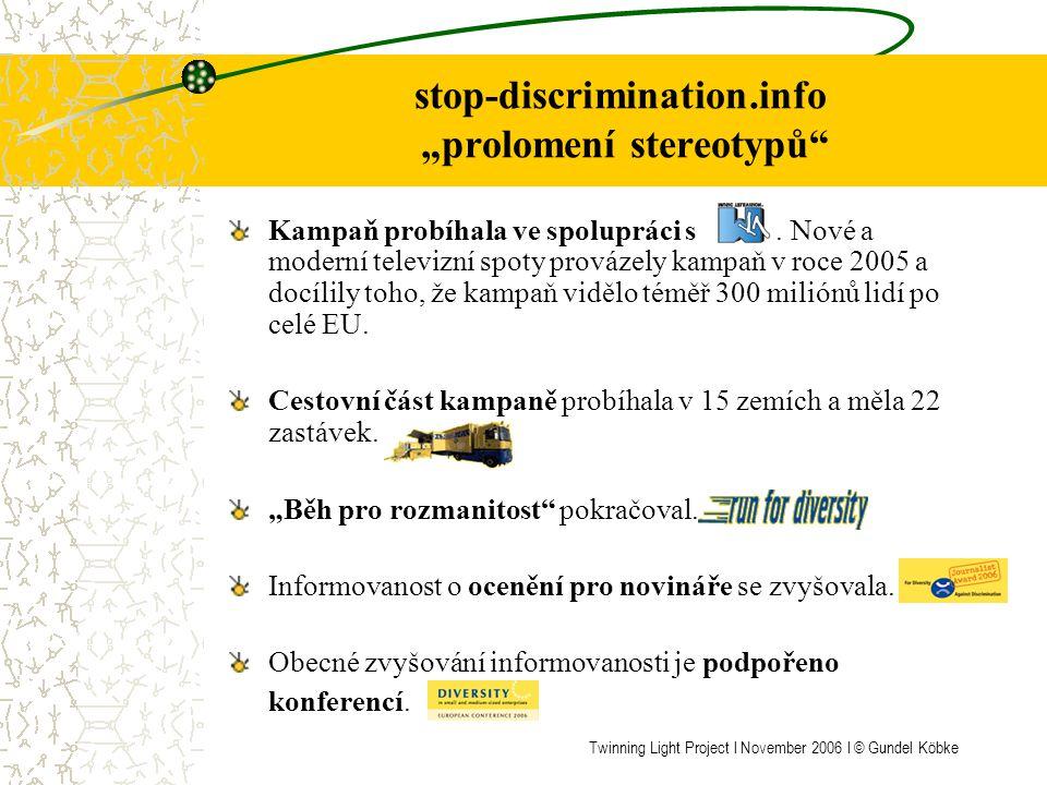 """stop-discrimination.info Nástroje kampaně RESPECT Plakátová soutěž """"prolomení stereotypů skončila výstavou, kterou otevíral Vladimír Špidla, komisař pro zaměstnanost, sociální otázky a rovné příležitosti."""