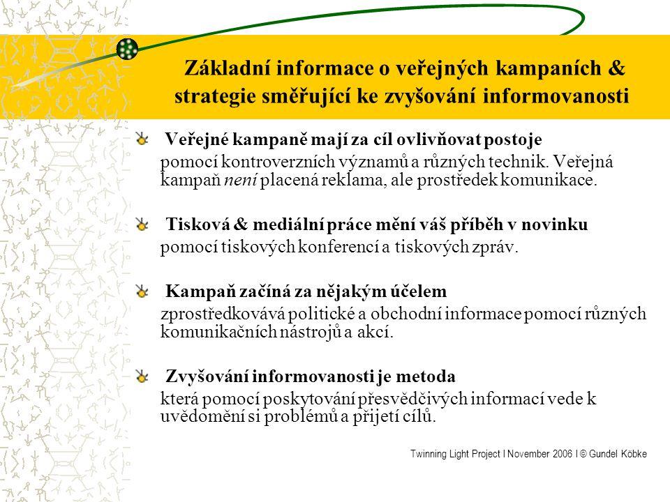 Základní informace o veřejných kampaních & strategie směřující ke zvyšování informovanosti Veřejné kampaně mají za cíl ovlivňovat postoje pomocí kontroverzních významů a různých technik.