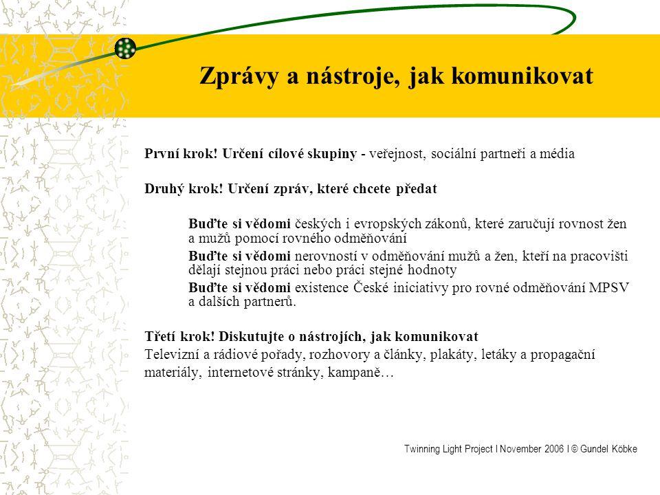 Čtyři základní témata Evropského roku rovných příležitostí pro všechny navržené Evropskou komisí Práva – zvyšování informovanosti o právech na rovnoprávnost a nediskriminační zacházení Reprezentace – podněcovat debatu na téma, jak ve společnosti zvýšit podíl nedostatečně zastoupených skupin Uznání – oslava a podpora rozmanitosti Respekt a tolerance – podpora více soudržné společnosti Twinning Light Project l November 2006 l © Gundel Köbke