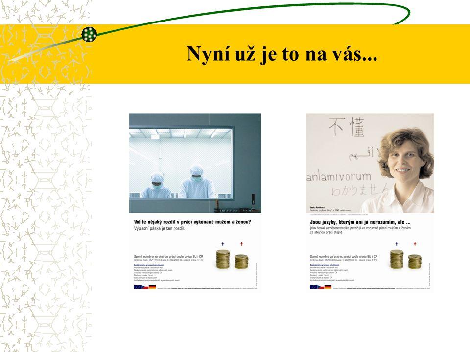Informace znázorněné na plakátech První plakát – ukazuje laboratoř, ve které pracuje muž a žena.