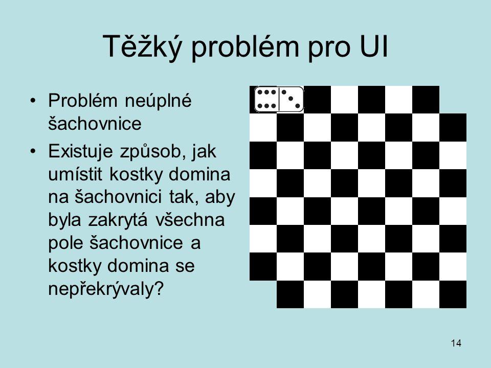 14 Těžký problém pro UI Problém neúplné šachovnice Existuje způsob, jak umístit kostky domina na šachovnici tak, aby byla zakrytá všechna pole šachovn