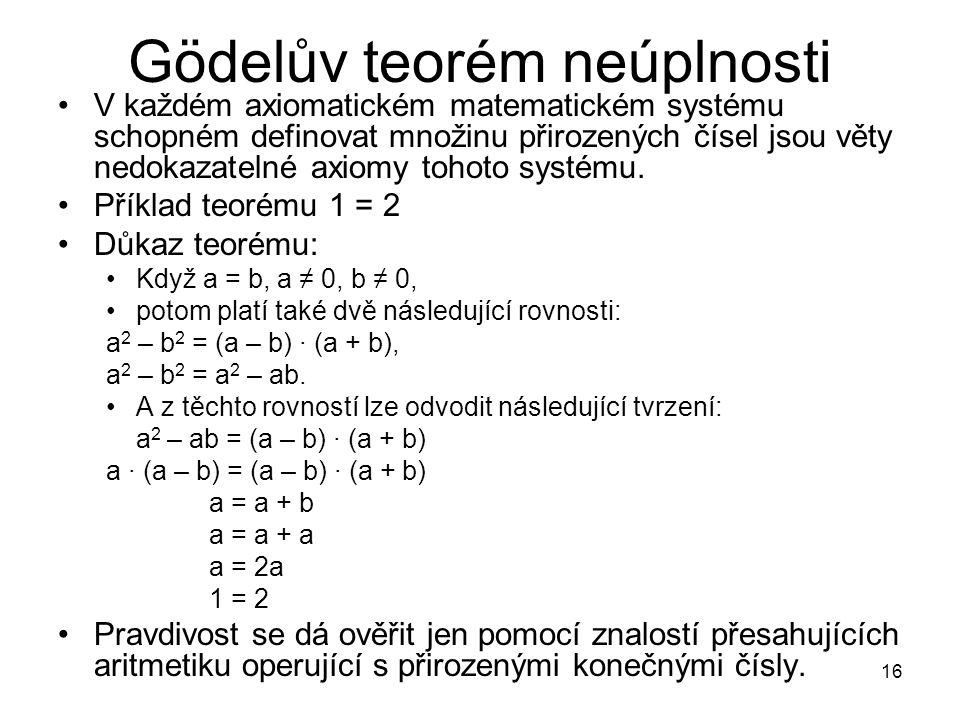 16 Gödelův teorém neúplnosti V každém axiomatickém matematickém systému schopném definovat množinu přirozených čísel jsou věty nedokazatelné axiomy to