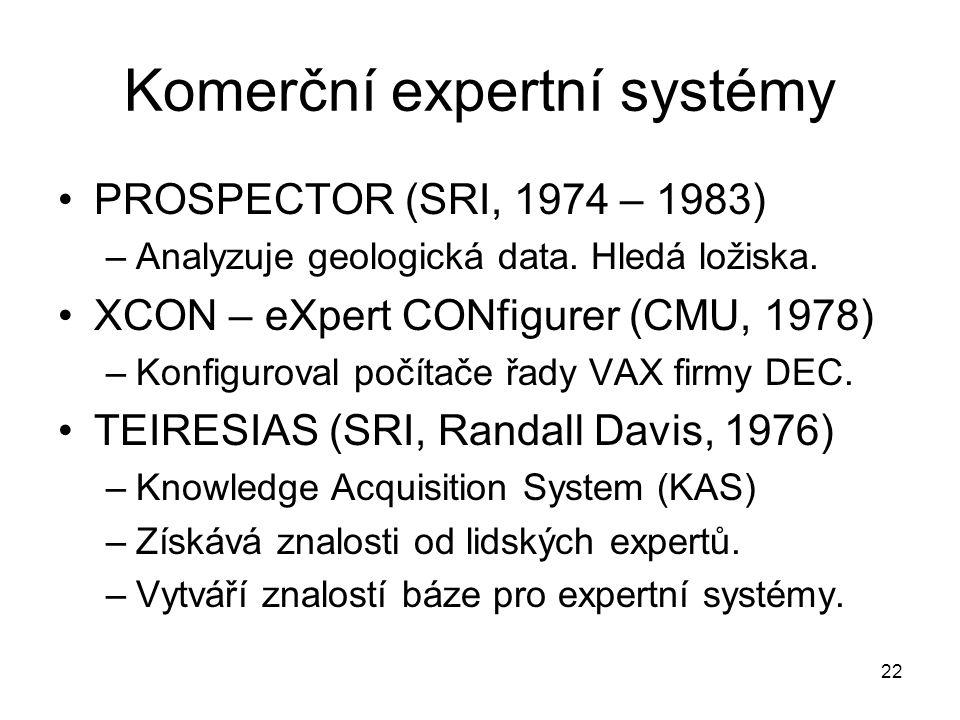 22 Komerční expertní systémy PROSPECTOR (SRI, 1974 – 1983) –Analyzuje geologická data. Hledá ložiska. XCON – eXpert CONfigurer (CMU, 1978) –Konfigurov