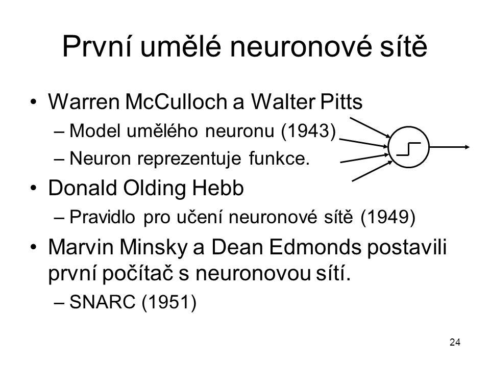 24 První umělé neuronové sítě Warren McCulloch a Walter Pitts –Model umělého neuronu (1943) –Neuron reprezentuje funkce. Donald Olding Hebb –Pravidlo