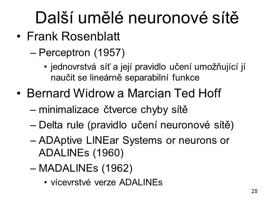 25 Další umělé neuronové sítě Frank Rosenblatt –Perceptron (1957) jednovrstvá síť a její pravidlo učení umožňující jí naučit se lineárně separabilní f