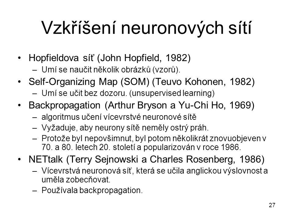 27 Vzkříšení neuronových sítí Hopfieldova síť (John Hopfield, 1982) –Umí se naučit několik obrázků (vzorů). Self-Organizing Map (SOM) (Teuvo Kohonen,