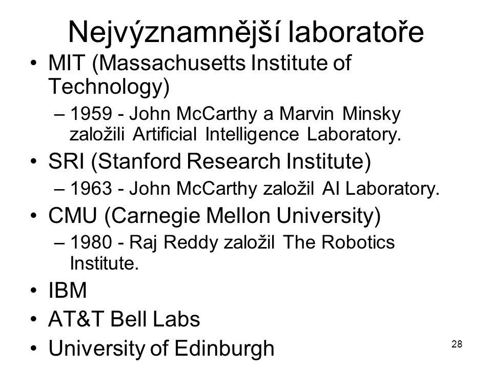 28 Nejvýznamnější laboratoře MIT (Massachusetts Institute of Technology) –1959 - John McCarthy a Marvin Minsky založili Artificial Intelligence Labora