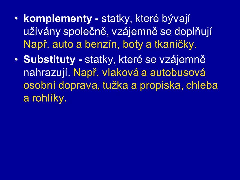 komplementy - statky, které bývají užívány společně, vzájemně se doplňují Např.