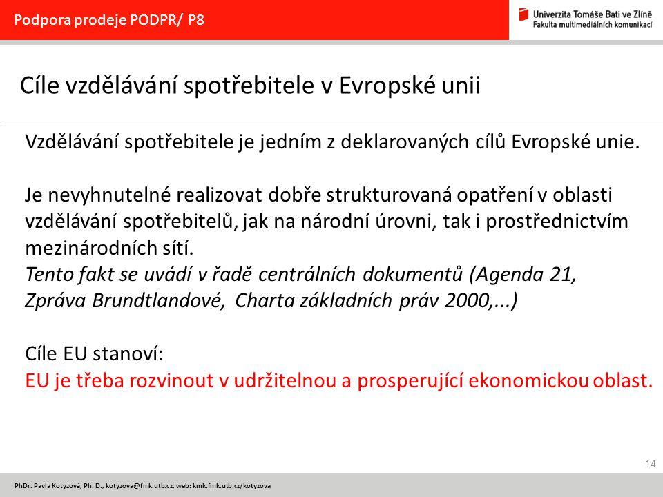 14 PhDr. Pavla Kotyzová, Ph. D., kotyzova@fmk.utb.cz, web: kmk.fmk.utb.cz/kotyzova Cíle vzdělávání spotřebitele v Evropské unii Podpora prodeje PODPR/