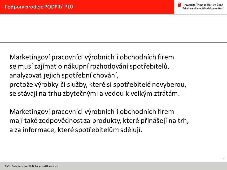 4 PhDr. Pavla Kotyzová, Ph.D.,kotyzova@fmk.utb.cz Podpora prodeje PODPR/ P10 Marketingoví pracovníci výrobních i obchodních firem se musí zajímat o ná