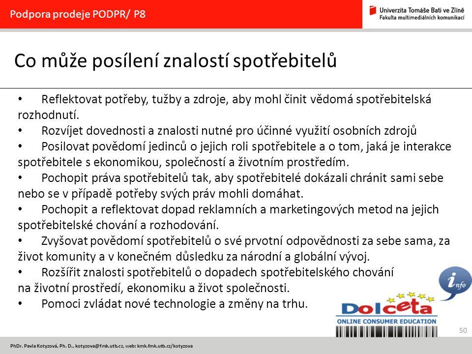 50 PhDr. Pavla Kotyzová, Ph. D., kotyzova@fmk.utb.cz, web: kmk.fmk.utb.cz/kotyzova Co může posílení znalostí spotřebitelů Podpora prodeje PODPR/ P8 Re