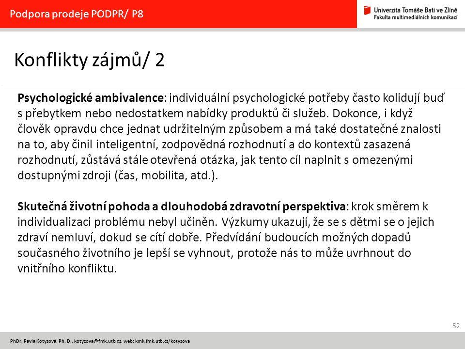 52 PhDr. Pavla Kotyzová, Ph. D., kotyzova@fmk.utb.cz, web: kmk.fmk.utb.cz/kotyzova Konflikty zájmů/ 2 Podpora prodeje PODPR/ P8 Psychologické ambivale