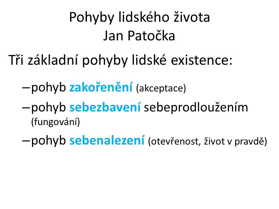 Pohyby lidského života Jan Patočka Tři základní pohyby lidské existence: – pohyb zakořenění (akceptace) – pohyb sebezbavení sebeprodloužením (fungování) – pohyb sebenalezení (otevřenost, život v pravdě)