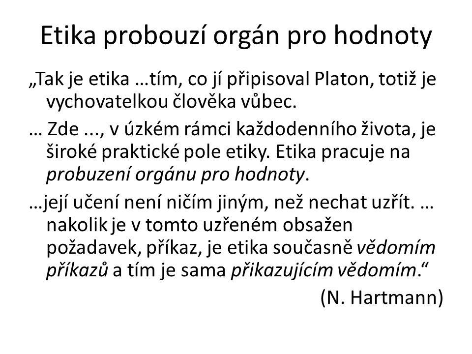 """Etika probouzí orgán pro hodnoty """"Tak je etika …tím, co jí připisoval Platon, totiž je vychovatelkou člověka vůbec."""