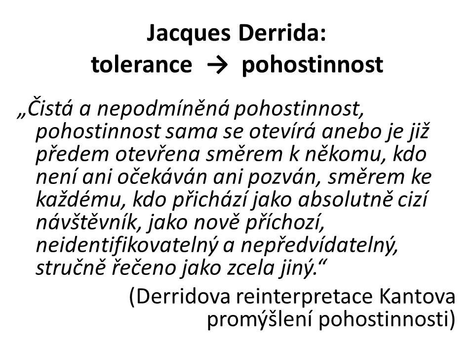 """Jacques Derrida: tolerance → pohostinnost """"Čistá a nepodmíněná pohostinnost, pohostinnost sama se otevírá anebo je již předem otevřena směrem k někomu, kdo není ani očekáván ani pozván, směrem ke každému, kdo přichází jako absolutně cizí návštěvník, jako nově příchozí, neidentifikovatelný a nepředvídatelný, stručně řečeno jako zcela jiný. (Derridova reinterpretace Kantova promýšlení pohostinnosti)"""