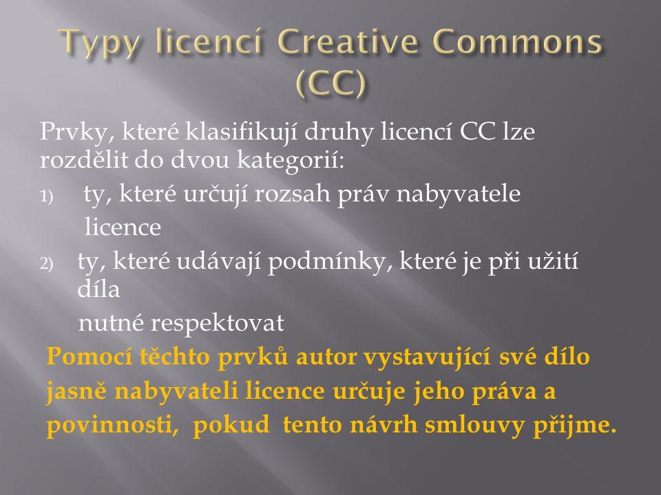 Prvky, které klasifikují druhy licencí CC lze rozdělit do dvou kategorií: 1) ty, které určují rozsah práv nabyvatele licence 2) ty, které udávají podmínky, které je při užití díla nutné respektovat Pomocí těchto prvků autor vystavující své dílo jasně nabyvateli licence určuje jeho práva a povinnosti, pokud tento návrh smlouvy přijme.