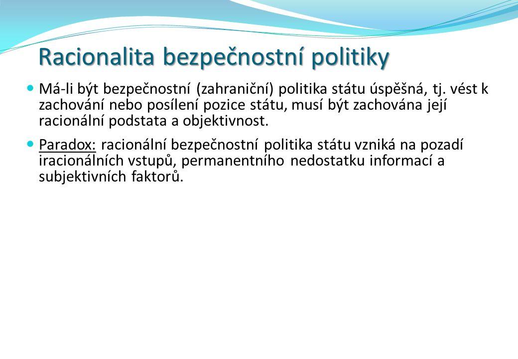 Racionalita bezpečnostní politiky Má-li být bezpečnostní (zahraniční) politika státu úspěšná, tj.