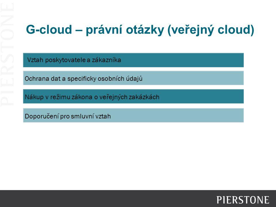 G-cloud – právní otázky (veřejný cloud) Vztah poskytovatele a zákazníka Ochrana dat a specificky osobních údajů Nákup v režimu zákona o veřejných zaká