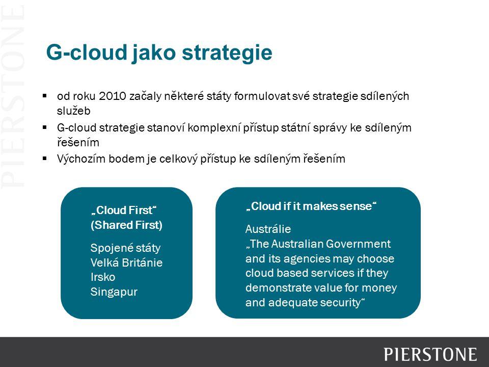  od roku 2010 začaly některé státy formulovat své strategie sdílených služeb  G-cloud strategie stanoví komplexní přístup státní správy ke sdíleným