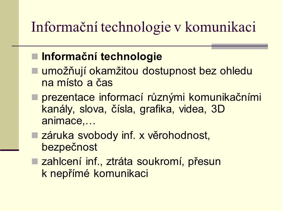 Informační technologie v komunikaci Informační technologie umožňují okamžitou dostupnost bez ohledu na místo a čas prezentace informací různými komunikačními kanály, slova, čísla, grafika, videa, 3D animace,… záruka svobody inf.
