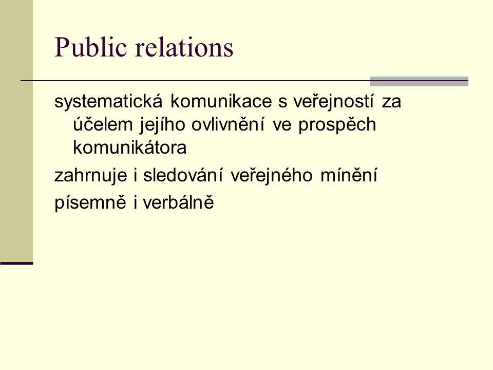Public relations systematická komunikace s veřejností za účelem jejího ovlivnění ve prospěch komunikátora zahrnuje i sledování veřejného mínění písemně i verbálně
