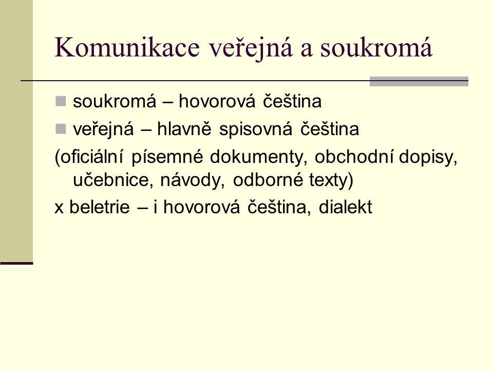 Komunikace veřejná a soukromá soukromá – hovorová čeština veřejná – hlavně spisovná čeština (oficiální písemné dokumenty, obchodní dopisy, učebnice, návody, odborné texty) x beletrie – i hovorová čeština, dialekt