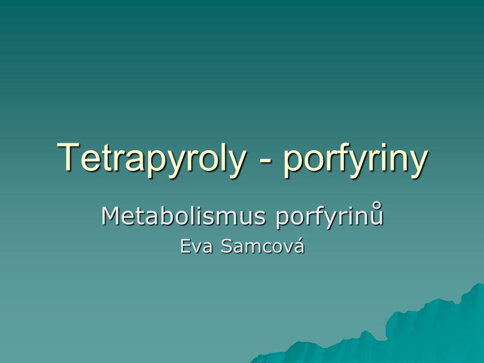 Tetrapyroly - porfyriny Metabolismus porfyrinů Eva Samcová