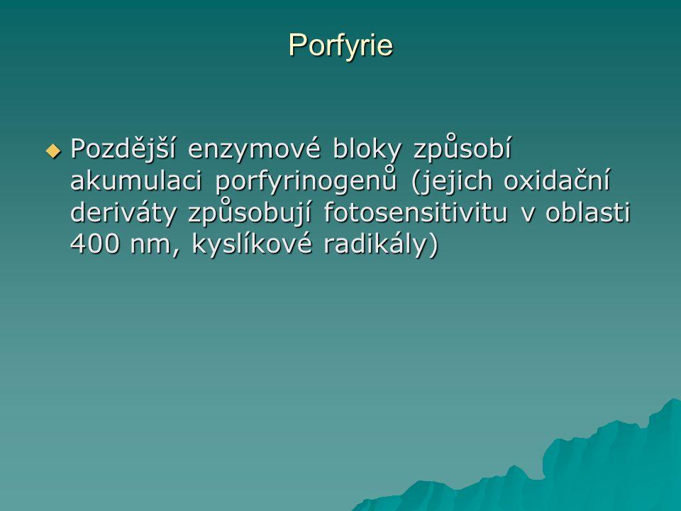 Porfyrie  Pozdější enzymové bloky způsobí akumulaci porfyrinogenů (jejich oxidační deriváty způsobují fotosensitivitu v oblasti 400 nm, kyslíkové radikály)