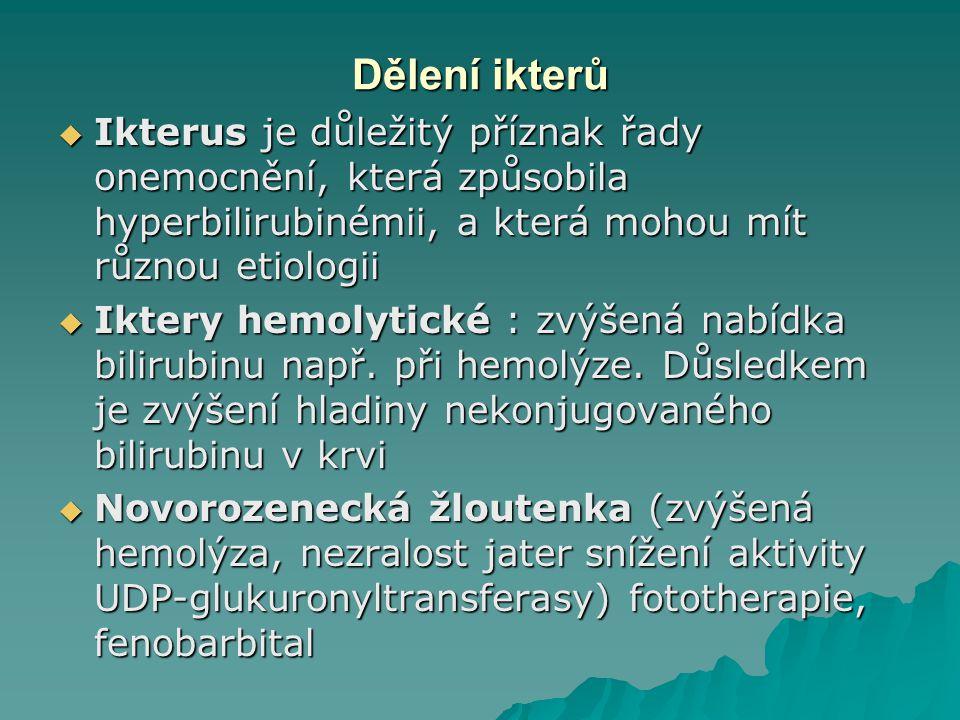 Dělení ikterů  Ikterus je důležitý příznak řady onemocnění, která způsobila hyperbilirubinémii, a která mohou mít různou etiologii  Iktery hemolytické : zvýšená nabídka bilirubinu např.