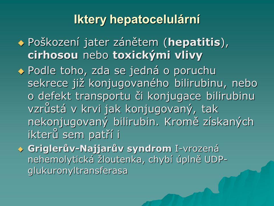 Iktery hepatocelulární  Poškození jater zánětem (hepatitis), cirhosou nebo toxickými vlivy  Podle toho, zda se jedná o poruchu sekrece již konjugovaného bilirubinu, nebo o defekt transportu či konjugace bilirubinu vzrůstá v krvi jak konjugovaný, tak nekonjugovaný bilirubin.