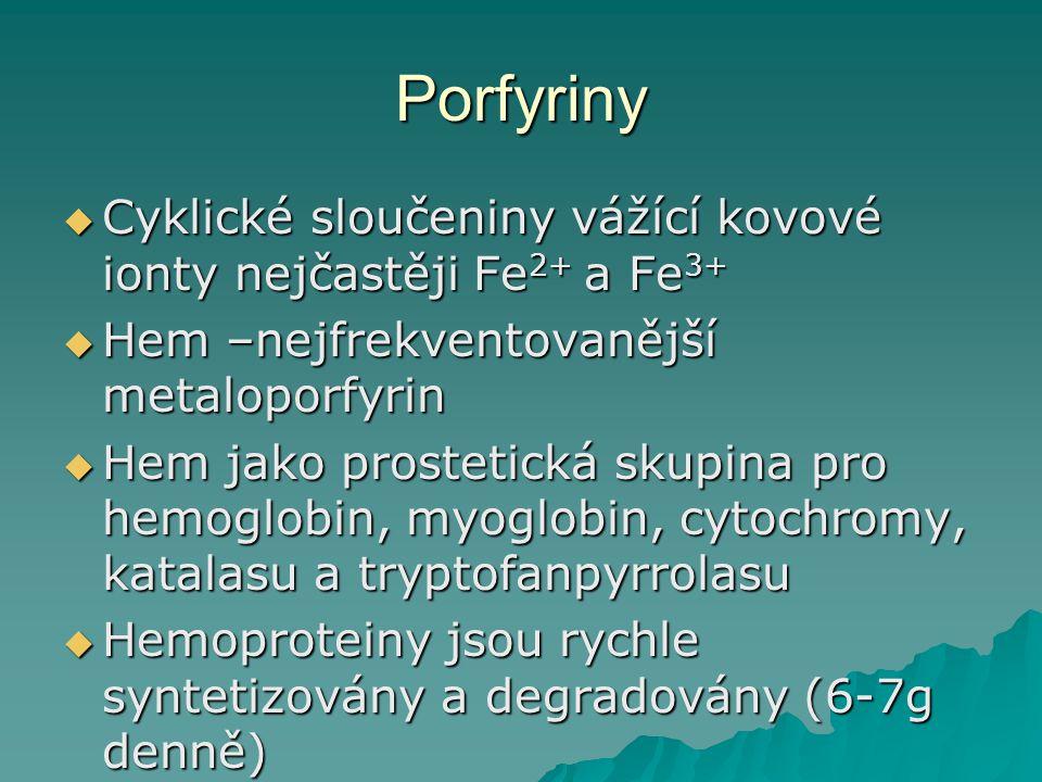 Porfyriny  Cyklické sloučeniny vážící kovové ionty nejčastěji Fe 2+ a Fe 3+  Hem –nejfrekventovanější metaloporfyrin  Hem jako prostetická skupina pro hemoglobin, myoglobin, cytochromy, katalasu a tryptofanpyrrolasu  Hemoproteiny jsou rychle syntetizovány a degradovány (6-7g denně)