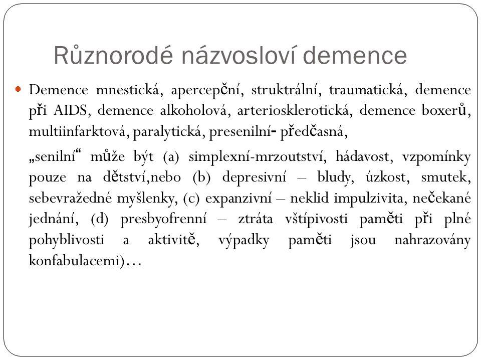 """Různorodé názvosloví demence Demence mnestická, apercep č ní, struktrální, traumatická, demence p ř i AIDS, demence alkoholová, arteriosklerotická, demence boxer ů, multiinfarktová, paralytická, presenilní - p ř ed č asná, """" senilní m ů že být (a) simplexní-mrzoutství, hádavost, vzpomínky pouze na d ě tství,nebo (b) depresivní – bludy, úzkost, smutek, sebevražedné myšlenky, (c) expanzivní – neklid impulzivita, ne č ekané jednání, (d) presbyofrenní – ztráta vštípivosti pam ě ti p ř i plné pohyblivosti a aktivit ě, výpadky pam ě ti jsou nahrazovány konfabulacemi) …"""