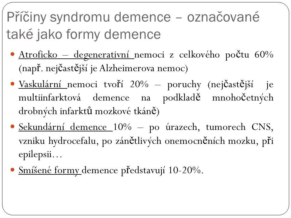 Příčiny syndromu demence – označované také jako formy demence Atroficko – degenerativní nemoci z celkového po č tu 60% (nap ř.