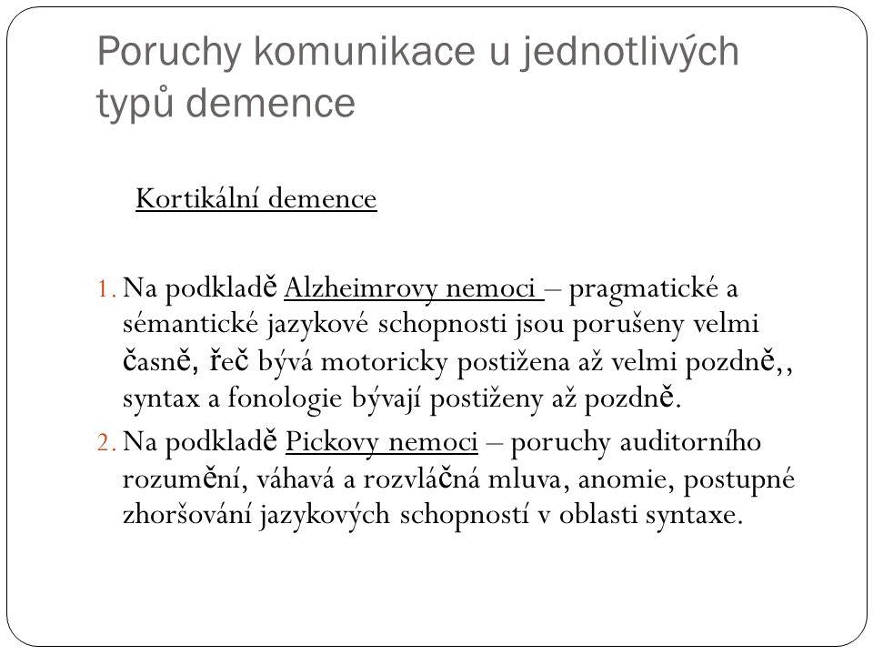 Poruchy komunikace u jednotlivých typů demence Kortikální demence 1.