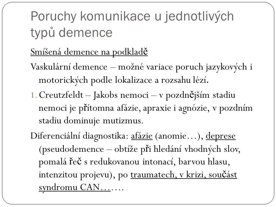 Poruchy komunikace u jednotlivých typů demence Smíšená demence na podklad ě Vaskulární demence – možné variace poruch jazykových i motorických podle lokalizace a rozsahu lézí.