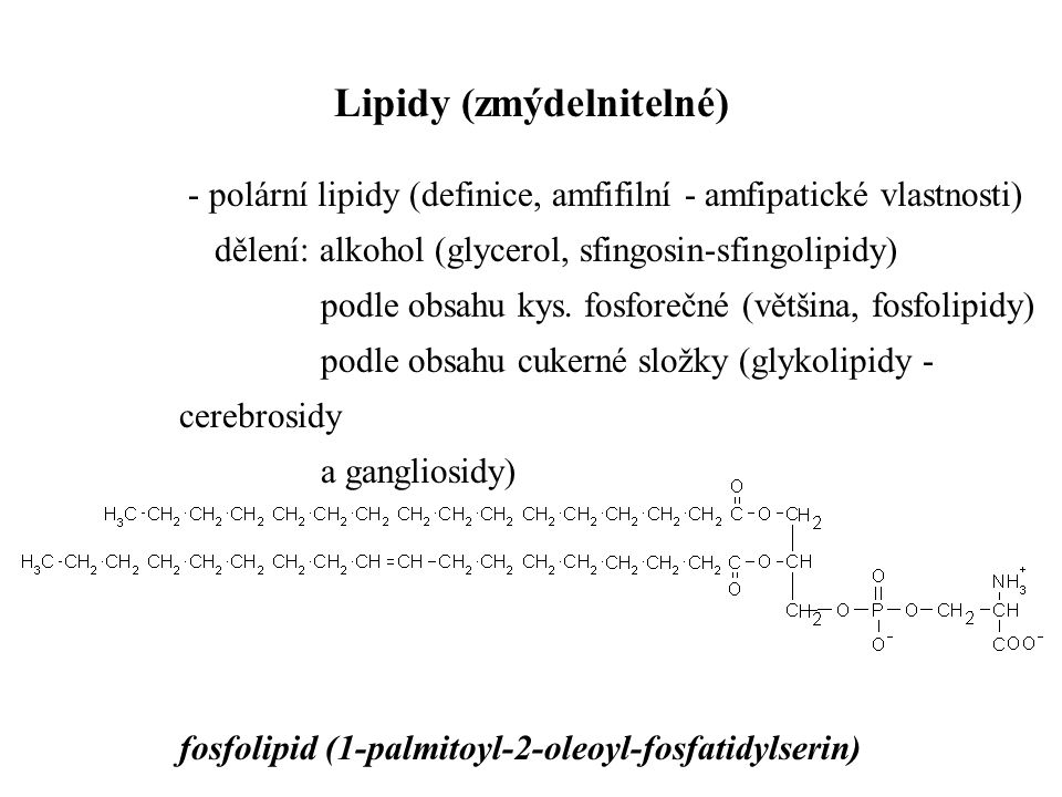 - polární lipidy (definice, amfifilní - amfipatické vlastnosti) dělení: alkohol (glycerol, sfingosin-sfingolipidy) podle obsahu kys. fosforečné (větši