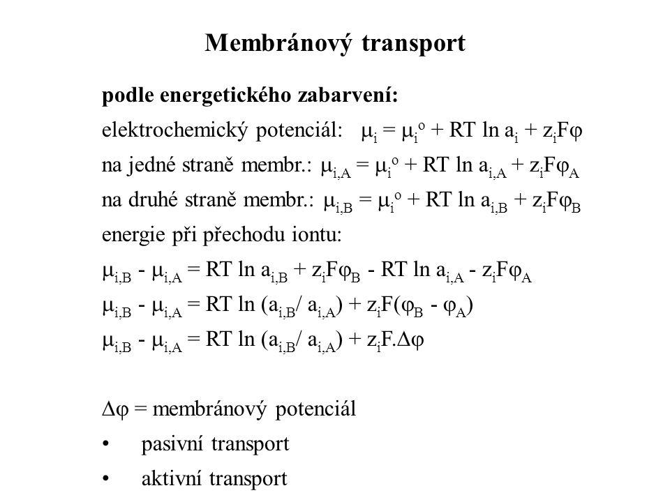podle energetického zabarvení: elektrochemický potenciál:  i =  i o + RT ln a i + z i F  na jedné straně membr.:  i,A =  i o + RT ln a i,A + z i