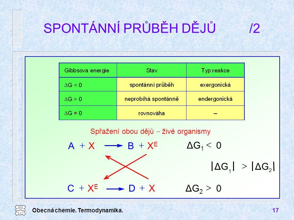 Obecná chemie. Termodynamika.17 SPONTÁNNÍ PRŮBĚH DĚJŮ/2 Spřažení obou dějů  živé organismy XEXE BXA  XDXEXE  C  0ΔG 1  2 1 ΔG  0ΔG 2 