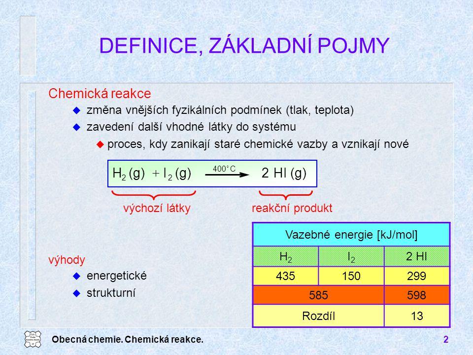 Obecná chemie. Chemická reakce.2 DEFINICE, ZÁKLADNÍ POJMY Chemická reakce u změna vnějších fyzikálních podmínek (tlak, teplota) u zavedení další vhodn