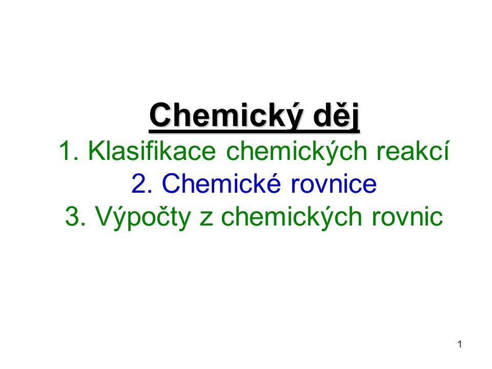 1 Chemický děj Chemický děj 1.Klasifikace chemických reakcí 2.