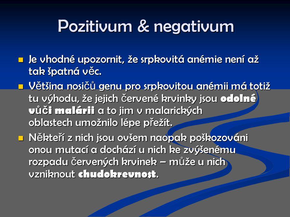 Pozitivum & negativum Je vhodné upozornit, že srpkovitá anémie není až tak špatná v ě c. Je vhodné upozornit, že srpkovitá anémie není až tak špatná v