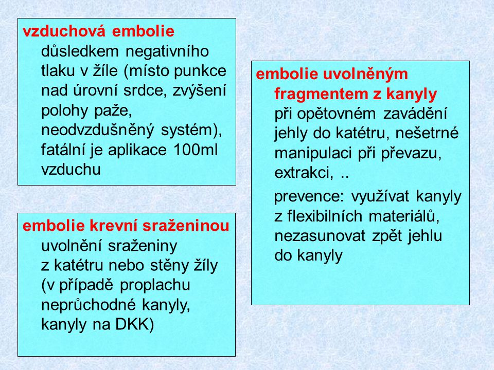 vzduchová embolie důsledkem negativního tlaku v žíle (místo punkce nad úrovní srdce, zvýšení polohy paže, neodvzdušněný systém), fatální je aplikace 1
